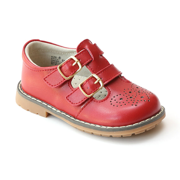 L'Amour Girls Red Double T-Strap Buckled Leather Medallion Stitch Down Mary Jane - Babychelle.com