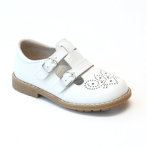 L'Amour Girls White Double T-Strap Buckled Medallion Stitch Down Mary Janes - Babychelle.com