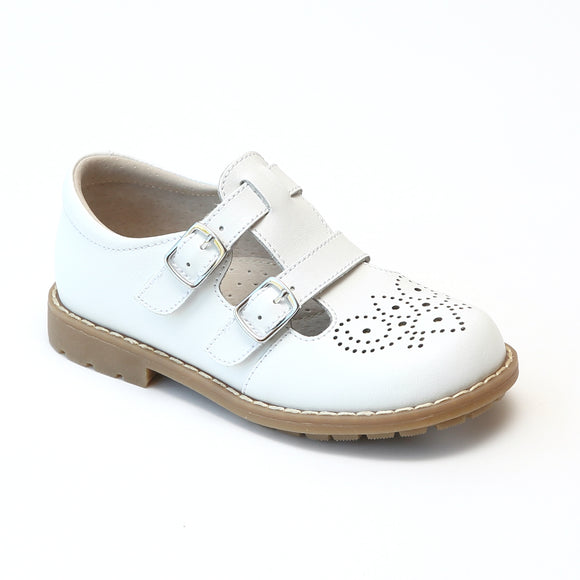 L'Amour Girls White Double T-Strap Buckled Medallion Mary Janes - Babychelle.com