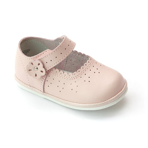 Angel Infant Girls A2020 Pink Leather Scalloped Mary Janes - Babychelle.com