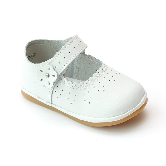 Angel Infant Girls A2020 White Leather Scalloped Mary Janes - Babychelle.com