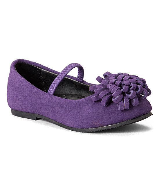 L'Amour Girls A426 Purple Pom Pom Flats