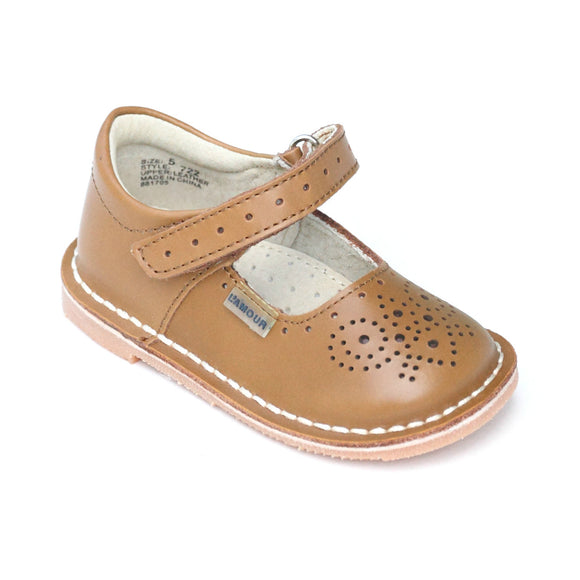 L'Amour Brown Medallion Perforated Ankle Strap Leather Stitch Down Mary Janes - Babychelle.com