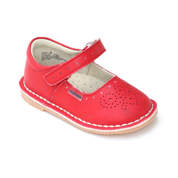 L'Amour Red Medallion Perforated Ankle Strap Leather Stitch Down Mary Janes - Babychelle.com