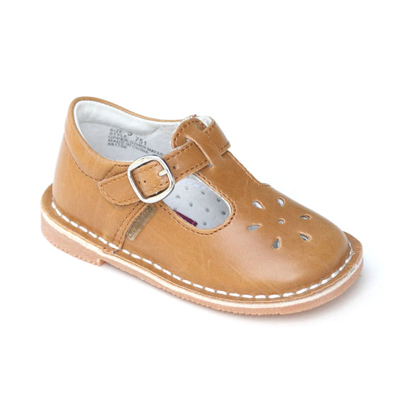 L'Amour Girls Classic Mustard T-Strap Mary Janes - Babychelle.com