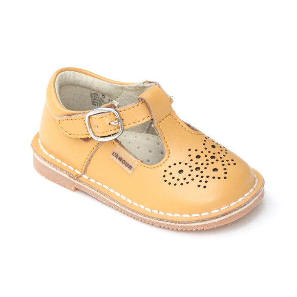 L'Amour Mustard Medallion T-Strap Leather Stitch Down Mary Jane