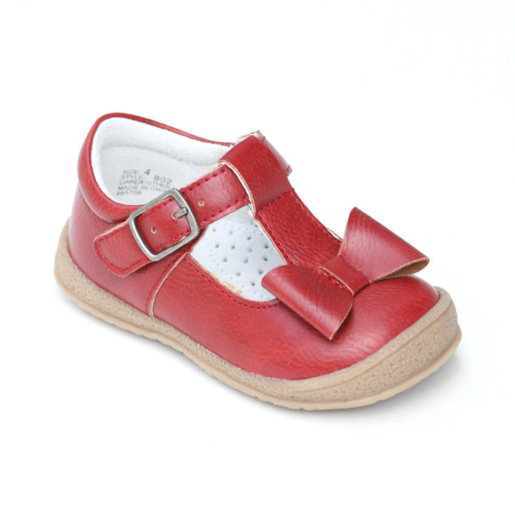 L'Amour Girls Red Autumn T-Strap Bow Mary Janes - Babychelle.com