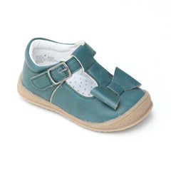 L'Amour Girls Turquoise Autumn T-Strap Bow Mary Janes - Babychelle.com