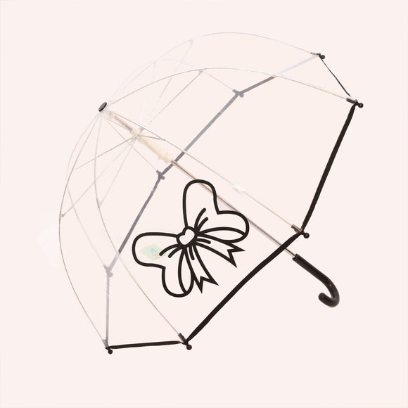Pluie Pluie Girls R2U - BK  Transparent Umbrella with Black Trim- Babychelle.com