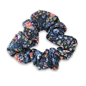 Girls Navy Floral Liberty of London Linen Hair Scrunchie - Babychelle.com