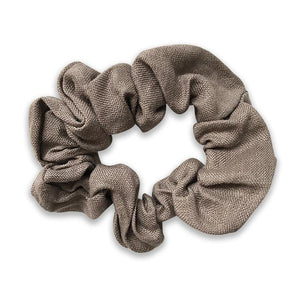 Girls Amy Taupe Linen Hair Scrunchie - Babychelle.com