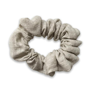 Girls Natural Beige Linen Hair Scrunchie - Babychelle.com