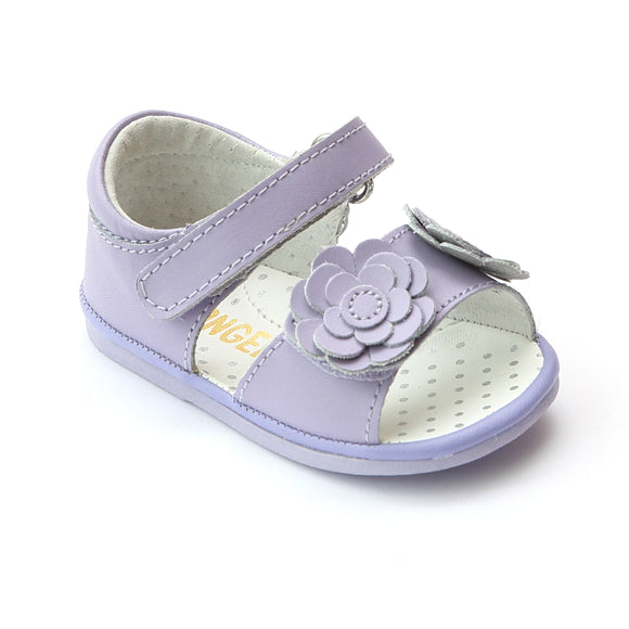 Angel Baby Girls Twin Flower Lilac Leather Sandal - Babychelle.com