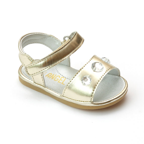 Angel Baby Girls Gold Gemstone Trio Sandal - Babychelle.com