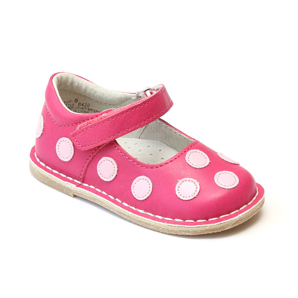 Angel Baby Girls Fuchsia Contrasting Polka Dot Leather Mary Janes - Babychelle.com