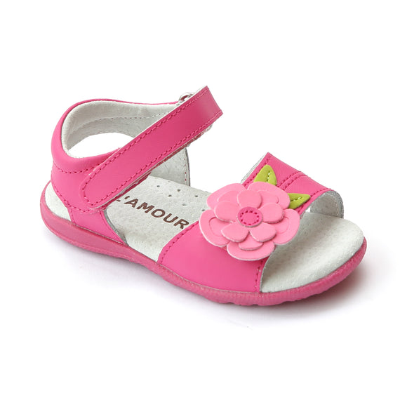 L'Amour Girls Fuchsia Leather Layered Flower Sandal - Babychelle.com