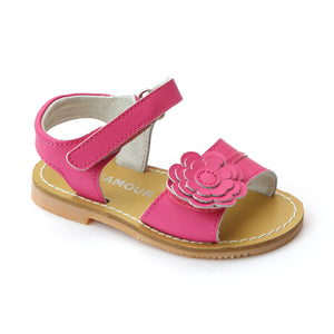 New L'Amour Girls Layered Fuchsia Petal Leather Sandals - Babychelle.com