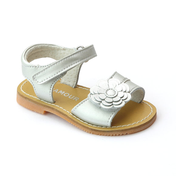 New L'Amour Girls Layered Silver Petal Leather Sandals - Babychelle.com