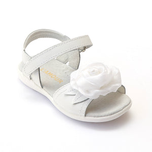 L'Amour Girls B600 White Decorative Satin Flower Applique Sandals - Babychelle.com