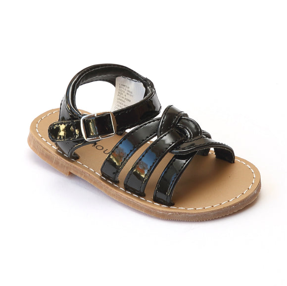 L'Amour Girls Patent Black Braided Sandals - Babychelle.com