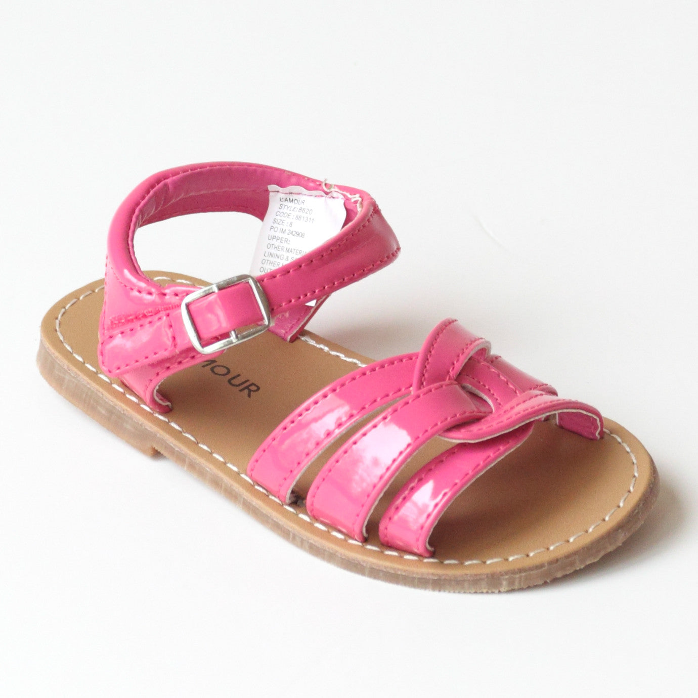 6f8f03142 ... L Amour Girls B620 Fuchsia Braided Sandals ...
