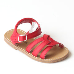 L'Amour Girls B620 Red Braided Sandals