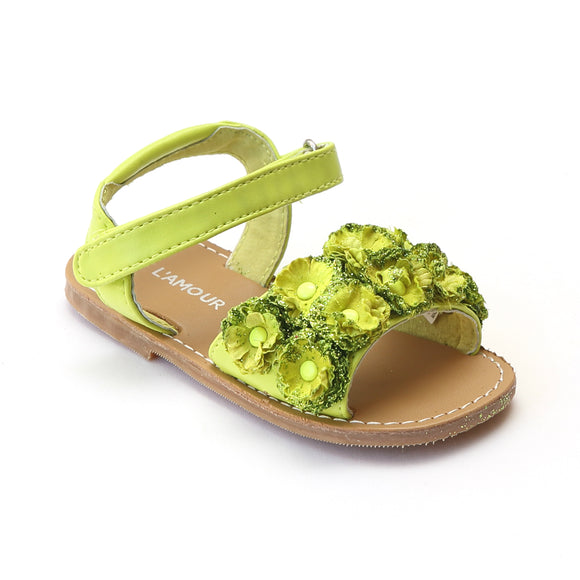 L'Amour Girls Bed of Lime Rosettes Open Toe Sandal - Babychelle.com