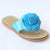 L'Amour Girls B760 Blue Patent Flower Applique Thong Sandals