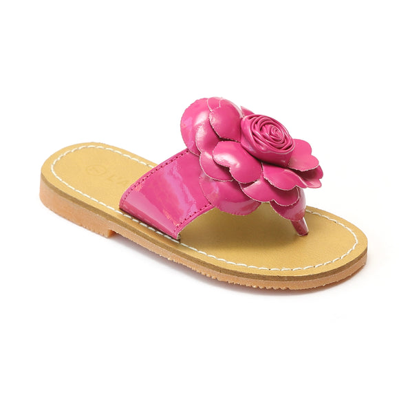 L'Amour Girls Fuchsia Patent Flower Applique Thong Sandals - Babychelle.com