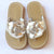 L'Amour Girls B760 Gold Patent Flower Applique Thong Sandals