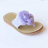 L'Amour Girls B760 Lilac Patent Flower Applique Thong Sandals