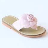 L'Amour Girls B760 Patent Pink Flower Applique Thong Sandals