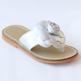 L'Amour Girls B760 Silver Patent Flower Applique Thong Sandals