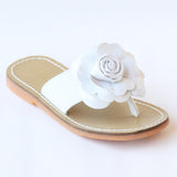 L'Amour Girls B760 White Patent Flower Applique Thong Sandals