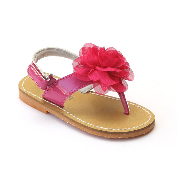 L'Amour Girls Fuchsia Organza Carnation Flower Thong Sandals - Babychelle.com