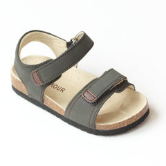 L'Amour Boys Khaki Double Strap Cork Sandals