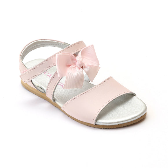 L'Amour Girls Pink Grosgrain Bow Leather Sandals