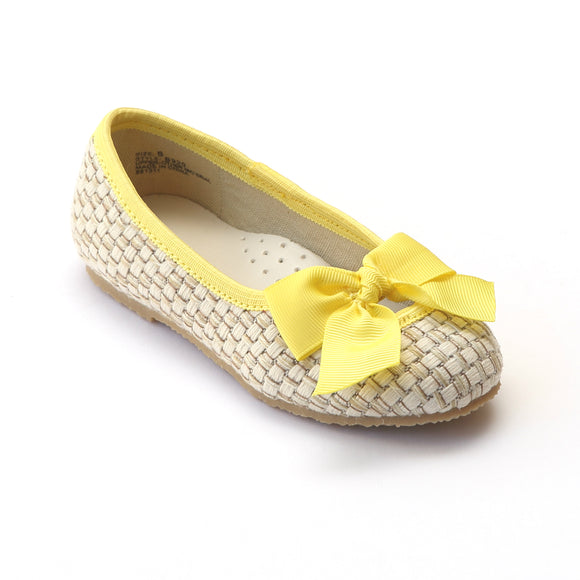 L'Amour Girls Faux Straw Yellow Bow Flats - Babychelle.com