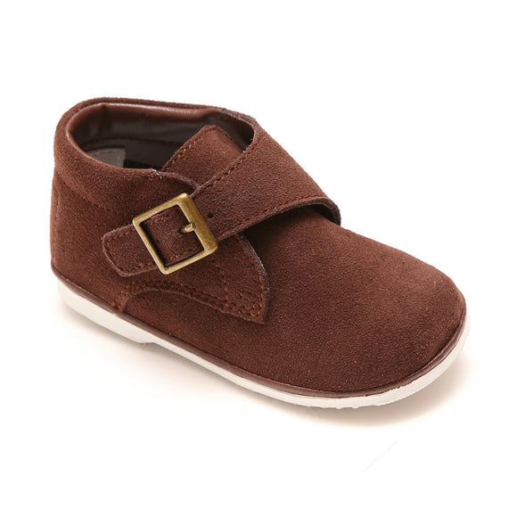 Classic Vintage Angel Baby Boys Finch Brown Suede Leather Buckle Strap Boot  - Babychelle.com