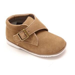 Classic Vintage Angel Baby Boys Finch  Khaki Suede Leather Buckle Strap Boot  - Babychelle.com
