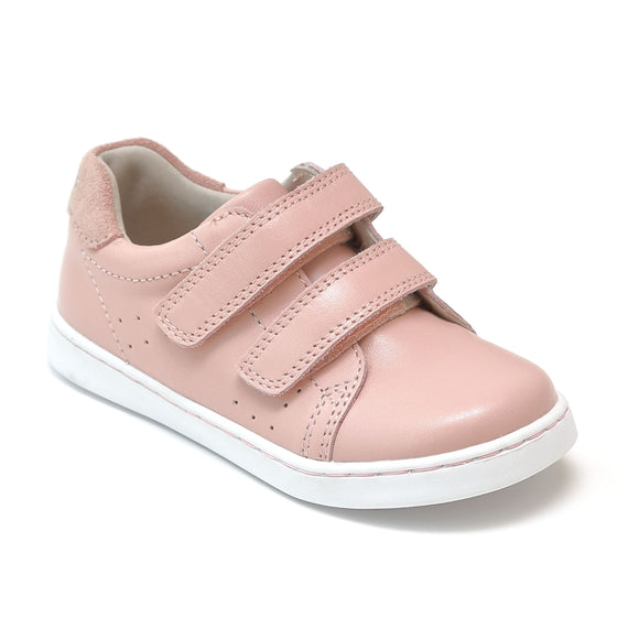 Toddler Girls Kenzie Double Velcro Sweetheart Double Strap Blush Pink Leather Sneaker - Babychelle.com