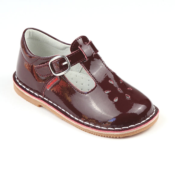 L'Amour Girls Joy 751 Classic Patent Burgundy T-Strap Mary Janes - Babychelle.com