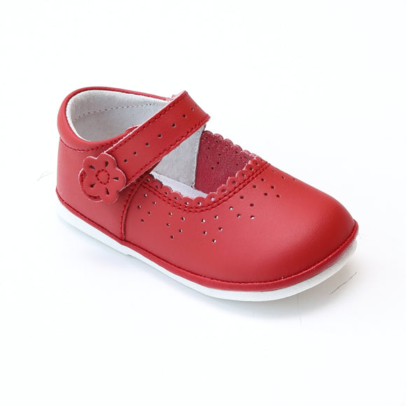 Angel Baby Girls Red Leather Scalloped Mary Janes - Babychelle.com