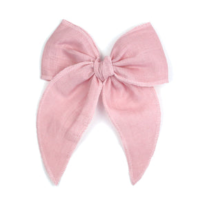 Caroline Linen Rose Midi Bow with Alligator Clip - Babychelle.com
