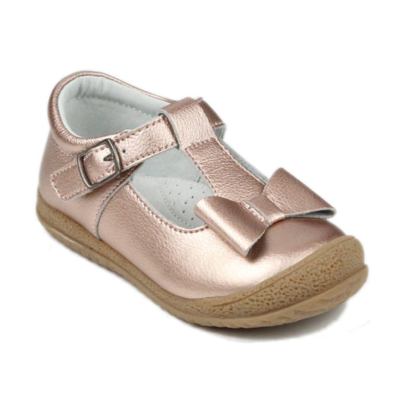 L'Amour Girls Rosegold Metallic Pebbled Leather T-Strap Bow Mary Janes - Babychelle.com