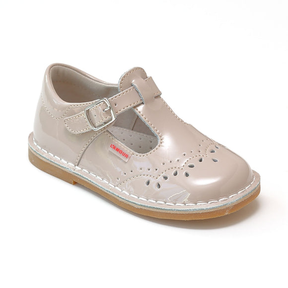 L'Amour Girls T-Strap Stitch Down Teardrop Mary Janes