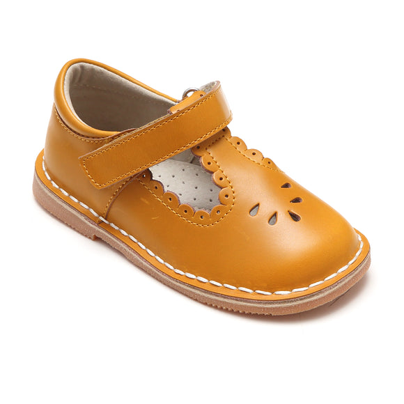 Angie Toddler Girls Vintage Inspired Scalloped T-Strap Mary Janes In Mustard - Babychelle.com