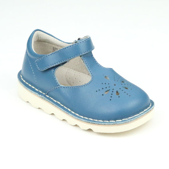 Alix Vintage Inspired Blue T-Strap Wedge Mary Jane - Babychelle.com