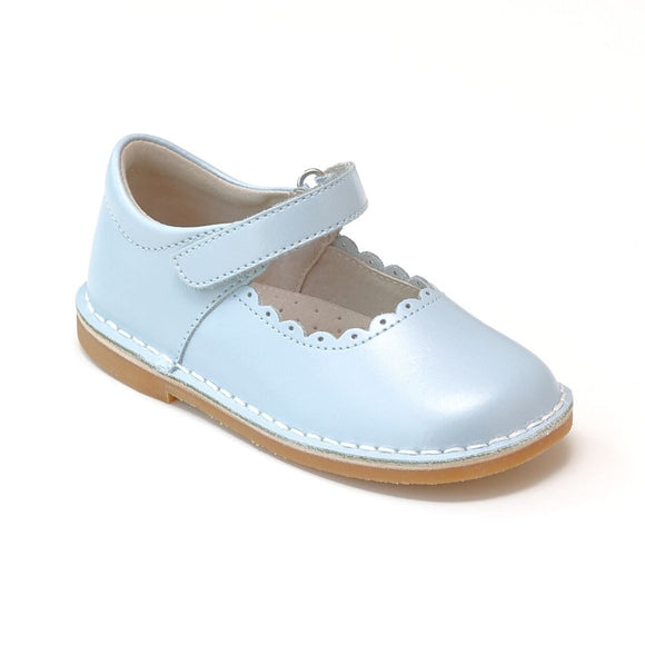 Toddler Girls Pearl Ice Blue Elsa Frozen T-Strap Scalloped Stitch Down Mary Jane by L'Amour Shoes - Babychelle.com