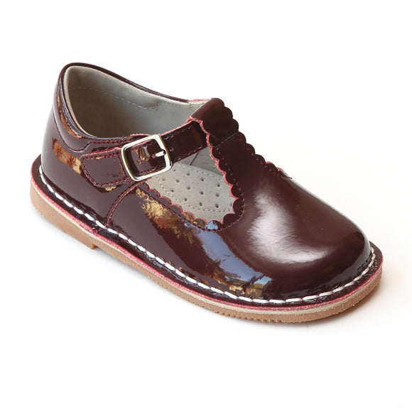 L'Amour Girls Selina Patent Burgundy Leather Scalloped T-Strap Mary Janes - Babychelle.com